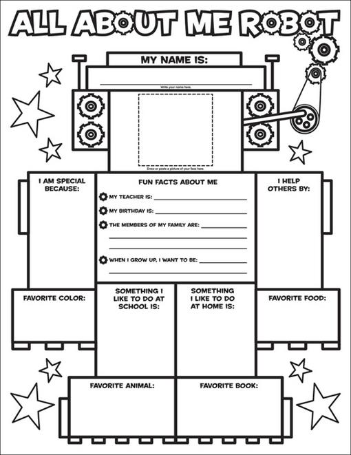 Liza Charlesworth - Graphic Organizer Posters: All-About-Me Robot (Grades K-2): 30 Fill-in Personal Posters for Kids to Display with Pride