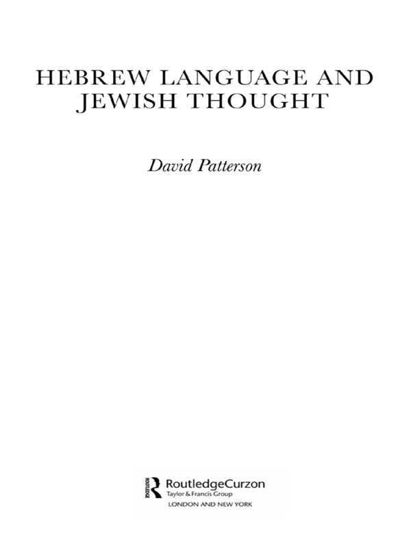 Hebrew Language and Jewish Thought