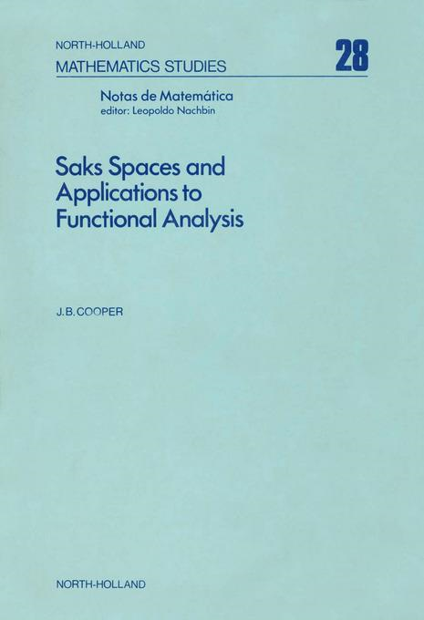 Saks spaces and applications to functional analysis By: AUTHOR, UNKNOWN