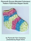 online magazine -  Plymouth Encore Worsted Colorspun Yarn Knitting Pattern F228 Kids Slipper Socks