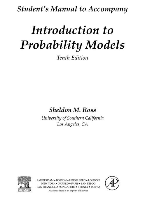 Introduction to Probability Models, Student Solutions Manual (e-only): Introduction to Probability Models 10th Edition