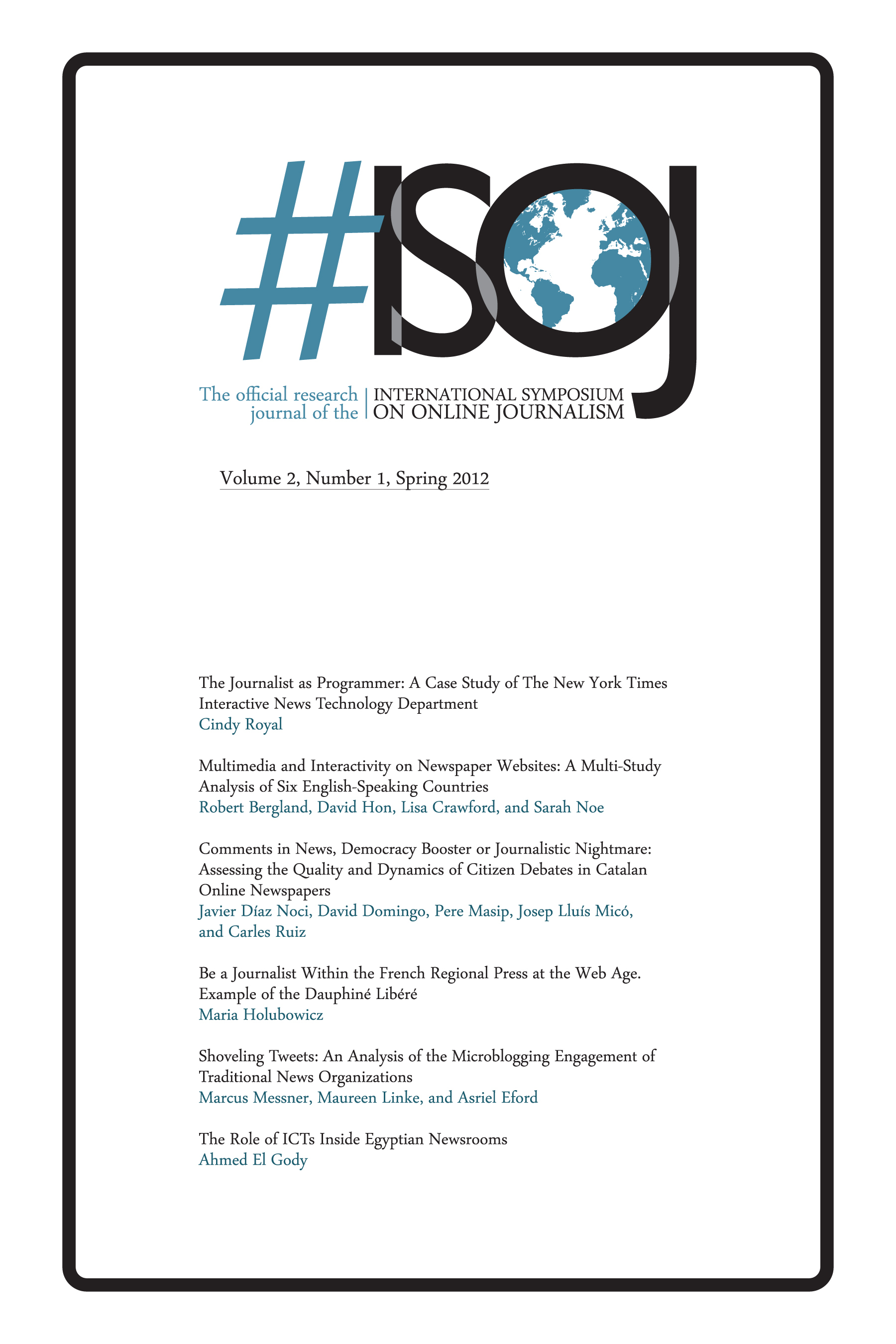 #ISOJ The official research journal of the International Symposium on Online Journalism, Volume 2, Number 1