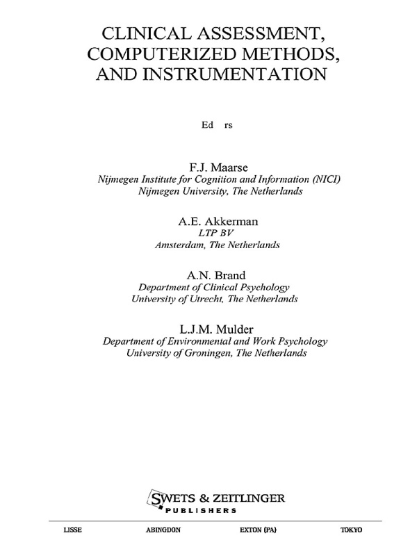 Clinical Assessment,  Computerized Methods,  and Instrumentation (Computers in Psychology)