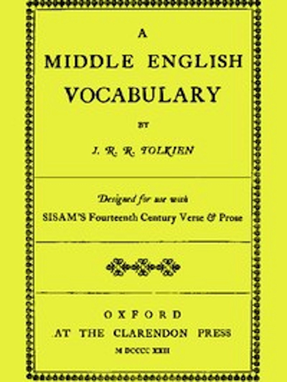 John Ronald Reuel Tolkien - A Middle English Vocabulary