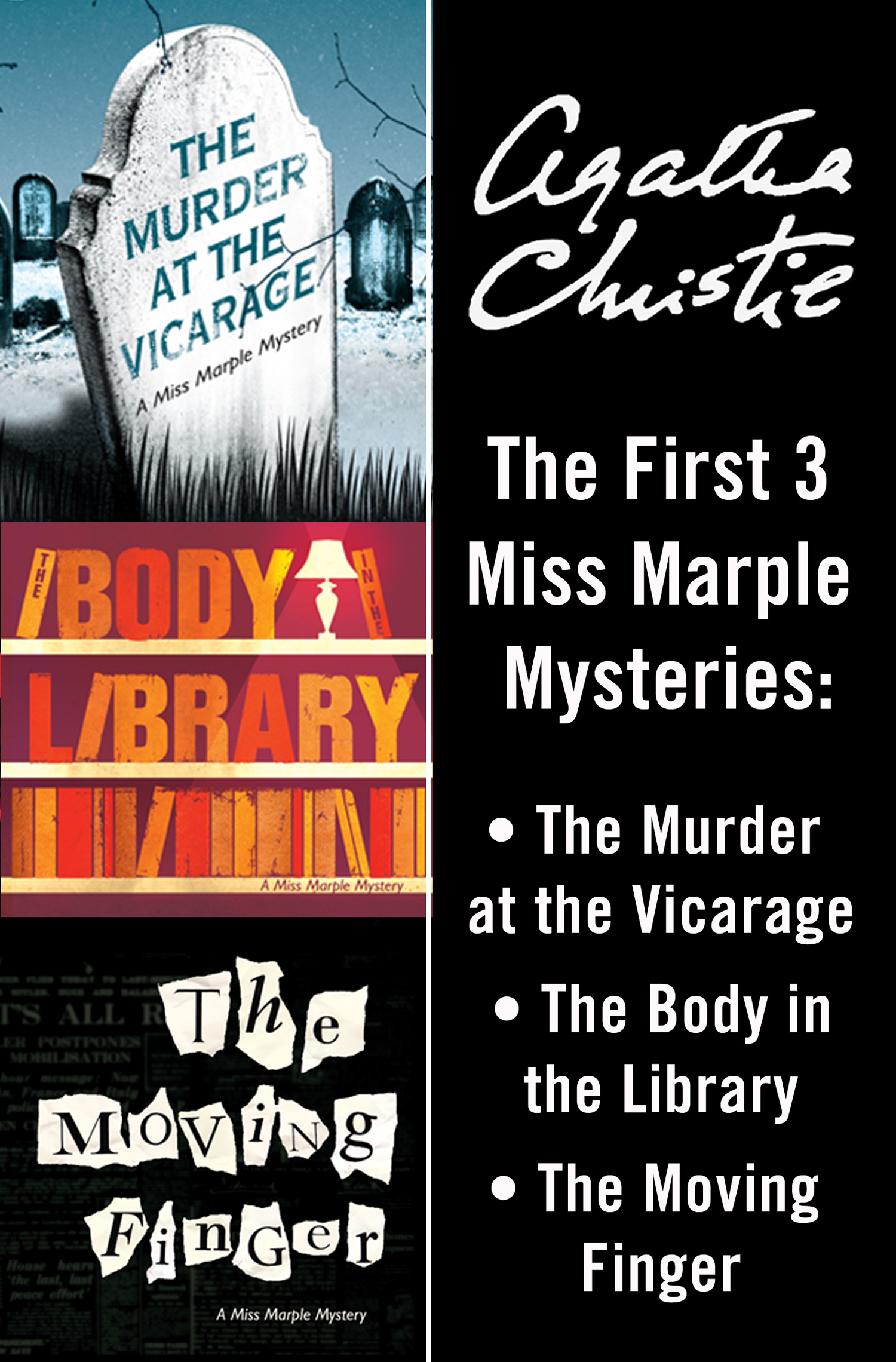 Miss Marple 3-Book Collection 1: The Murder at the Vicarage, The Body in the Library, The Moving Finger
