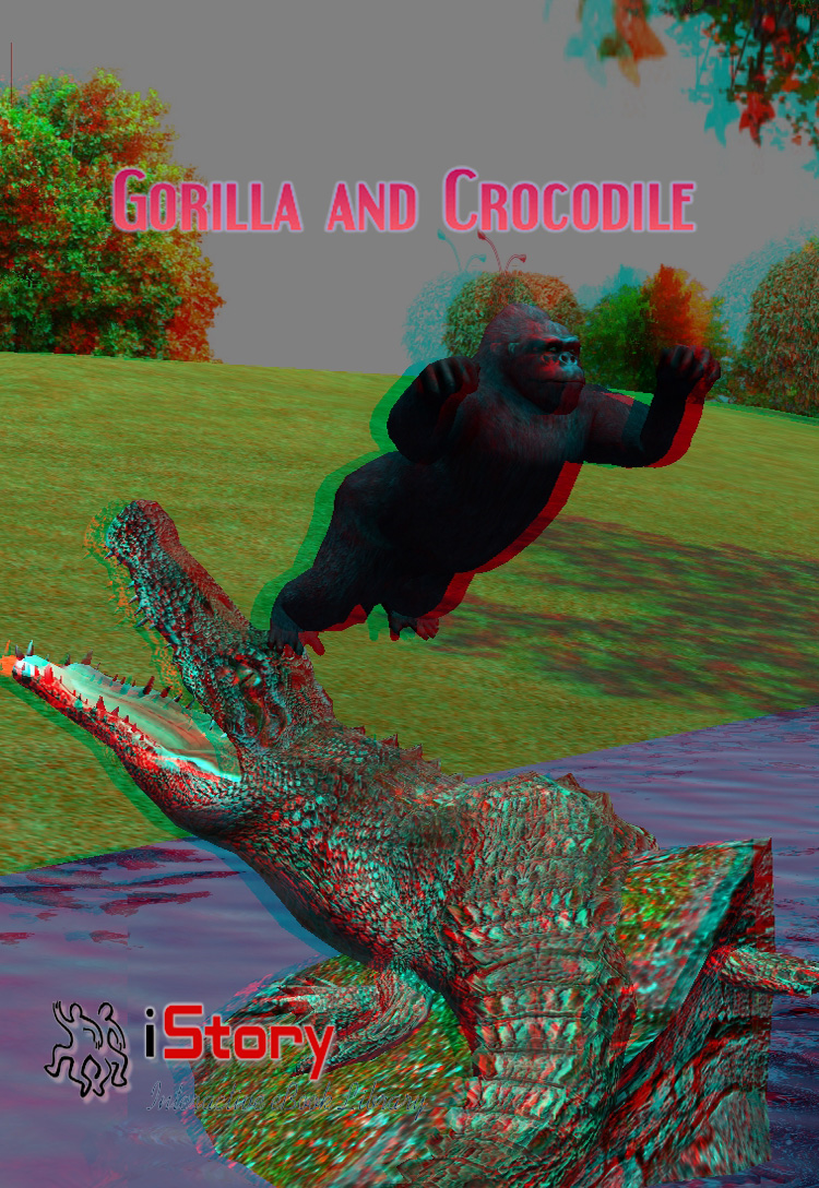 Gorilla And Crocodile 3D
