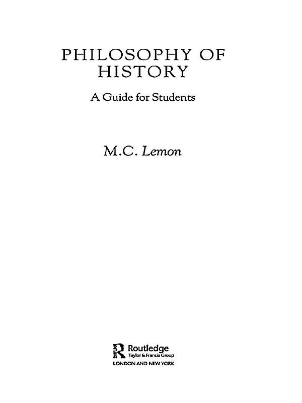 Philosophy of History A Guide for Students