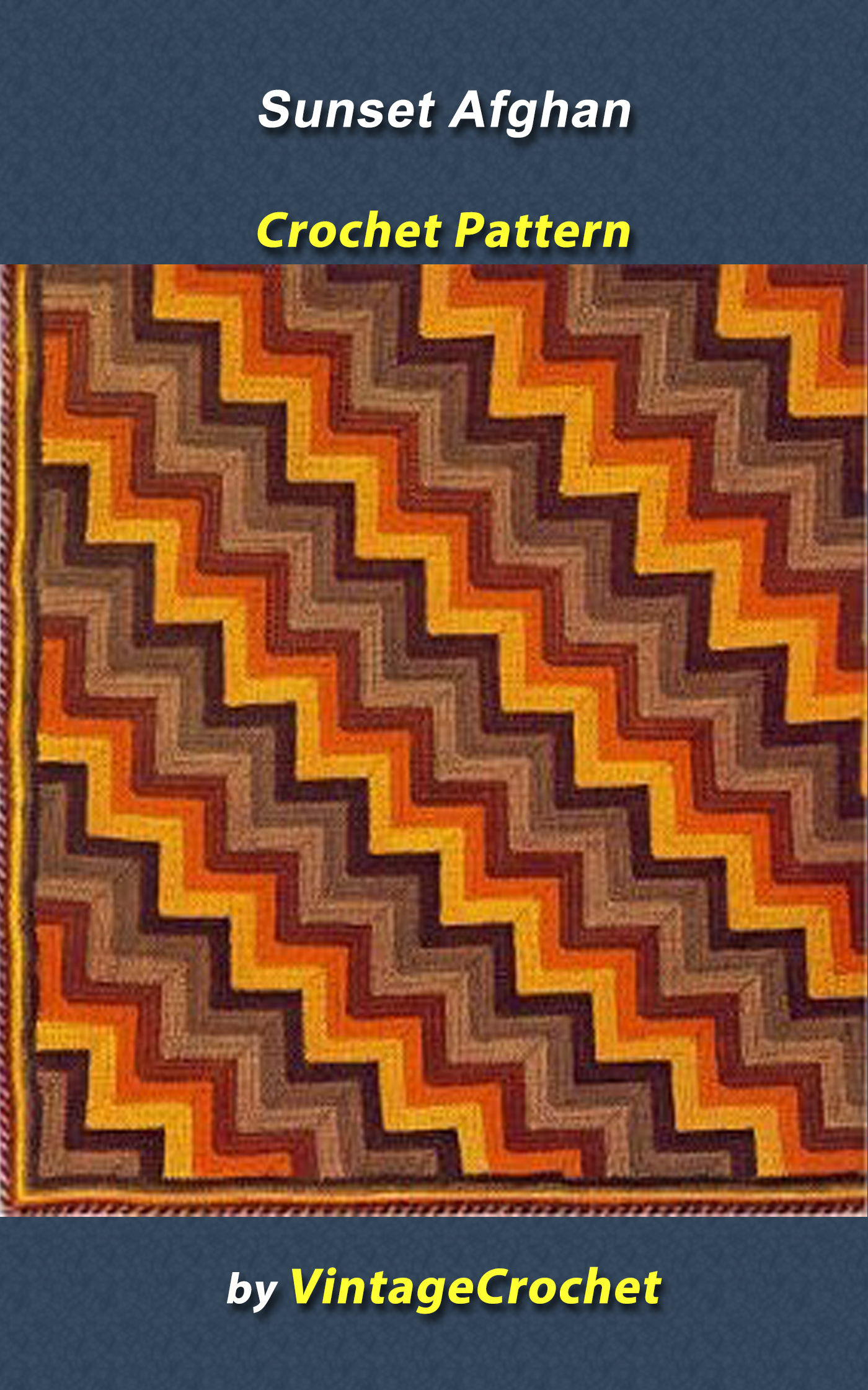 Sunset Afghan Vintage Crochet Pattern