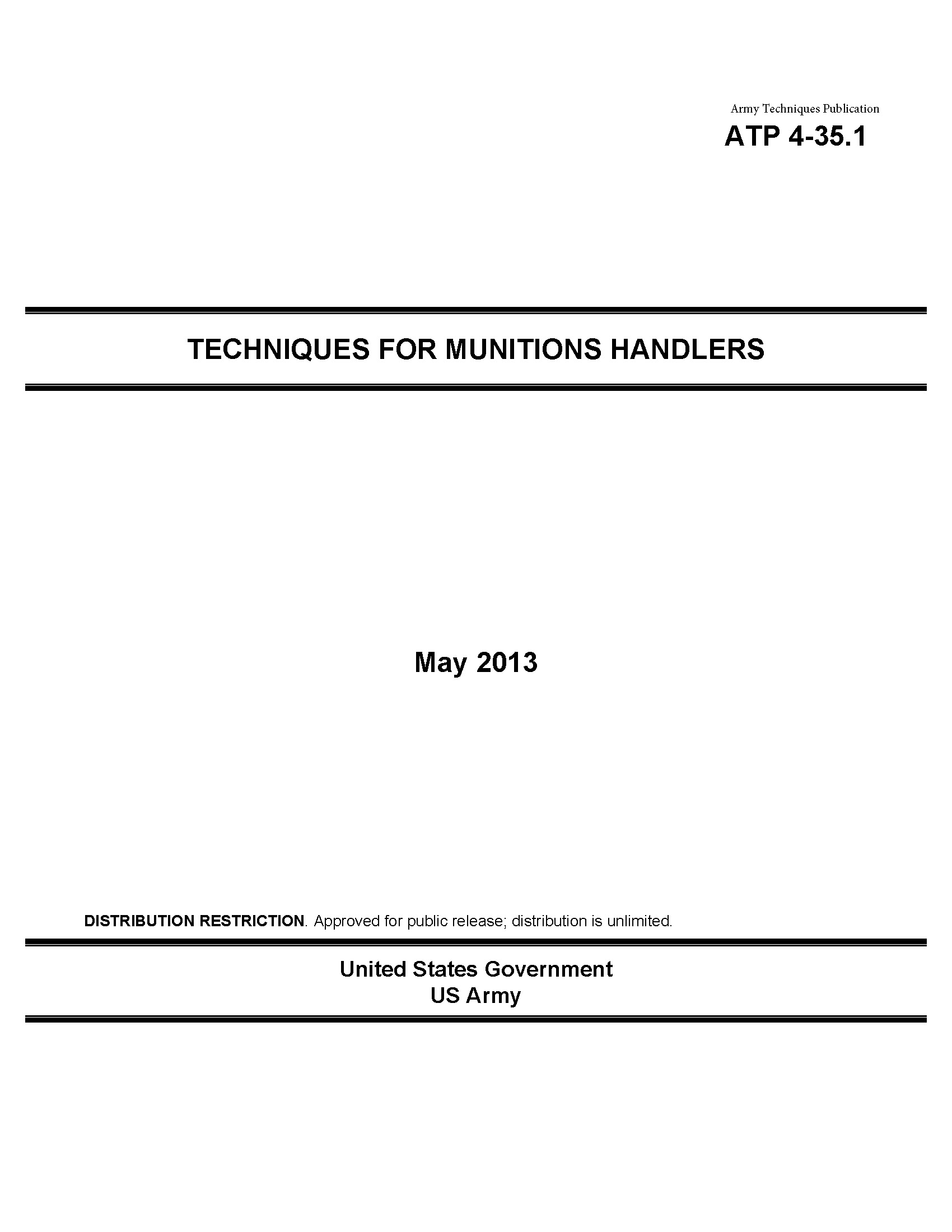 Army Techniques Publication ATP 4-35.1 Techniques for Munitions Handlers  May 2013
