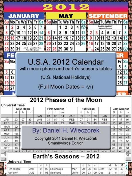 2012 U.S.A. Calendar With Moon Phase Table