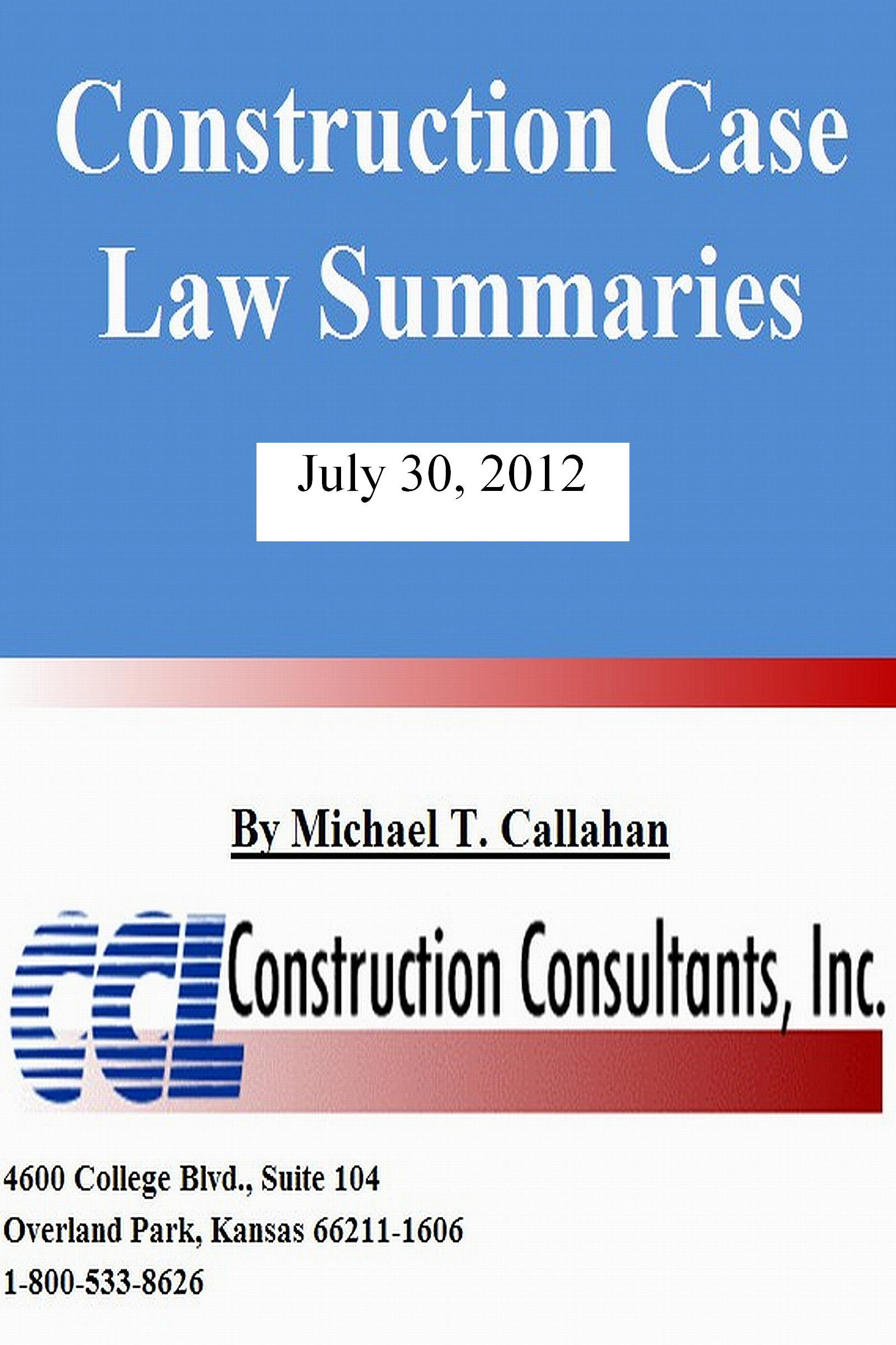Construction Case Law Summaries: July 30, 2012