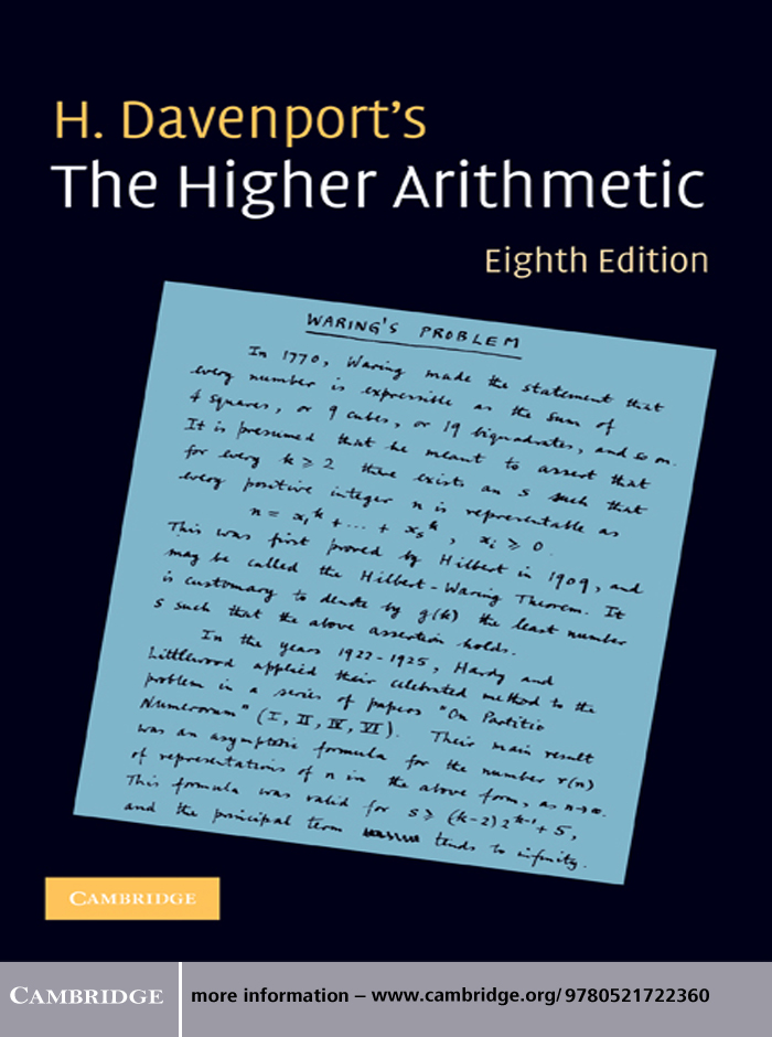 The Higher Arithmetic An Introduction to the Theory of Numbers
