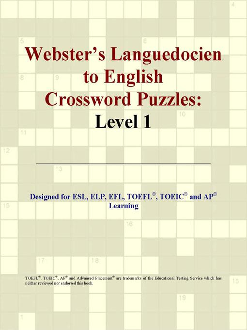 ICON Group International - Webster's Languedocien to English Crossword Puzzles: Level 1