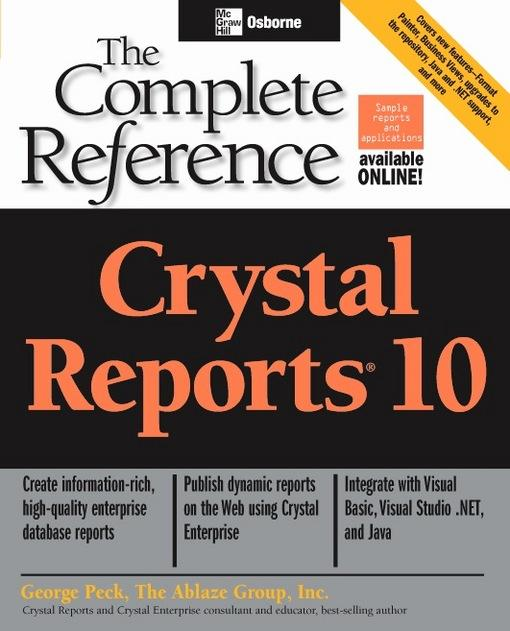 crystal report book online The ablaze group has been working with crystal reports since version 40 our  enterprise experience  we wrote the book - ablaze group's  online - over  the web, always accessible, measurable progress and satisfaction onsite -  sitting.