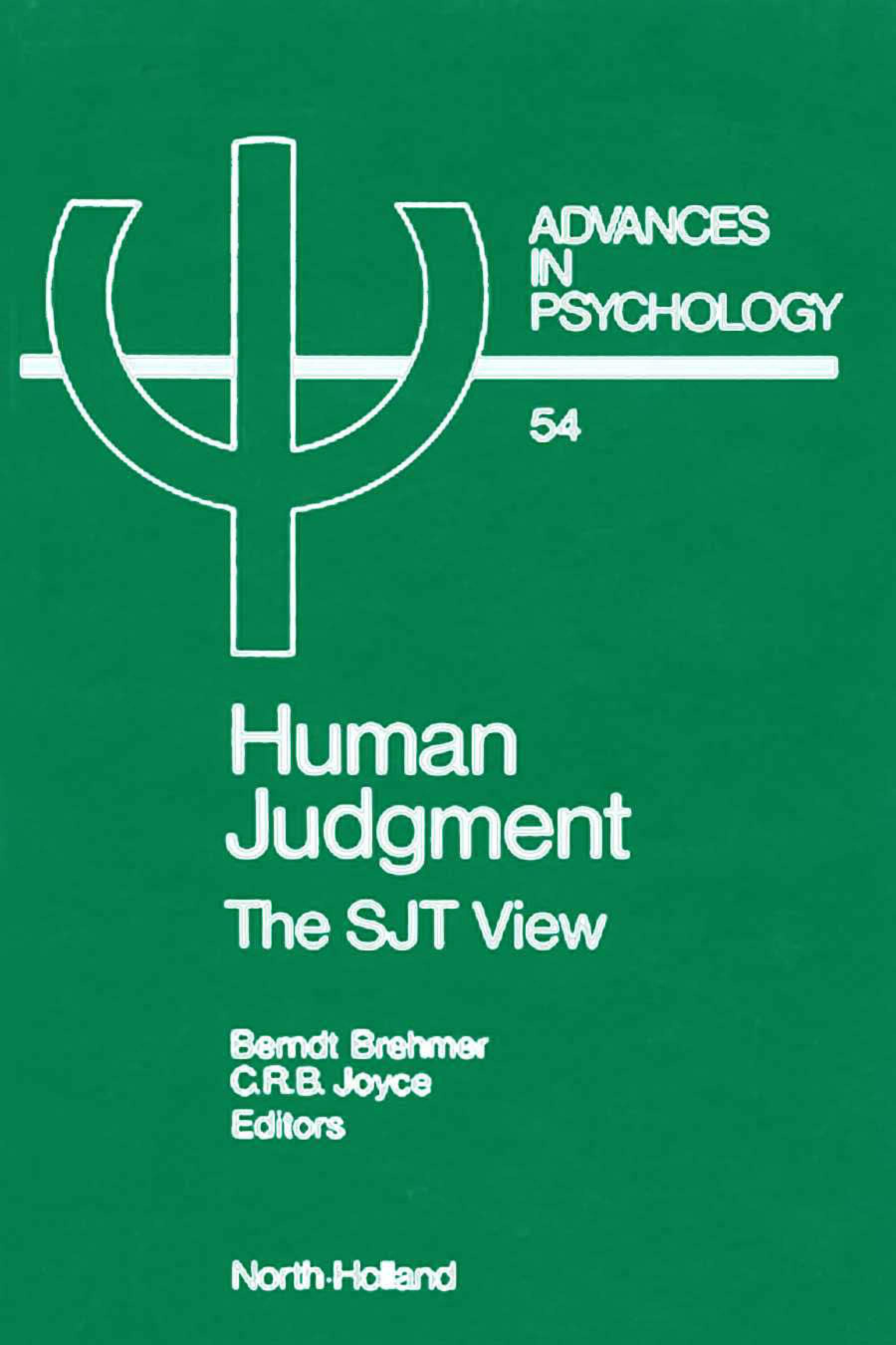 Human Judgment: The SJT View