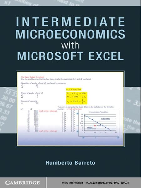 Intermediate Microeconomics with Microsoft Excel By: Humberto Barreto