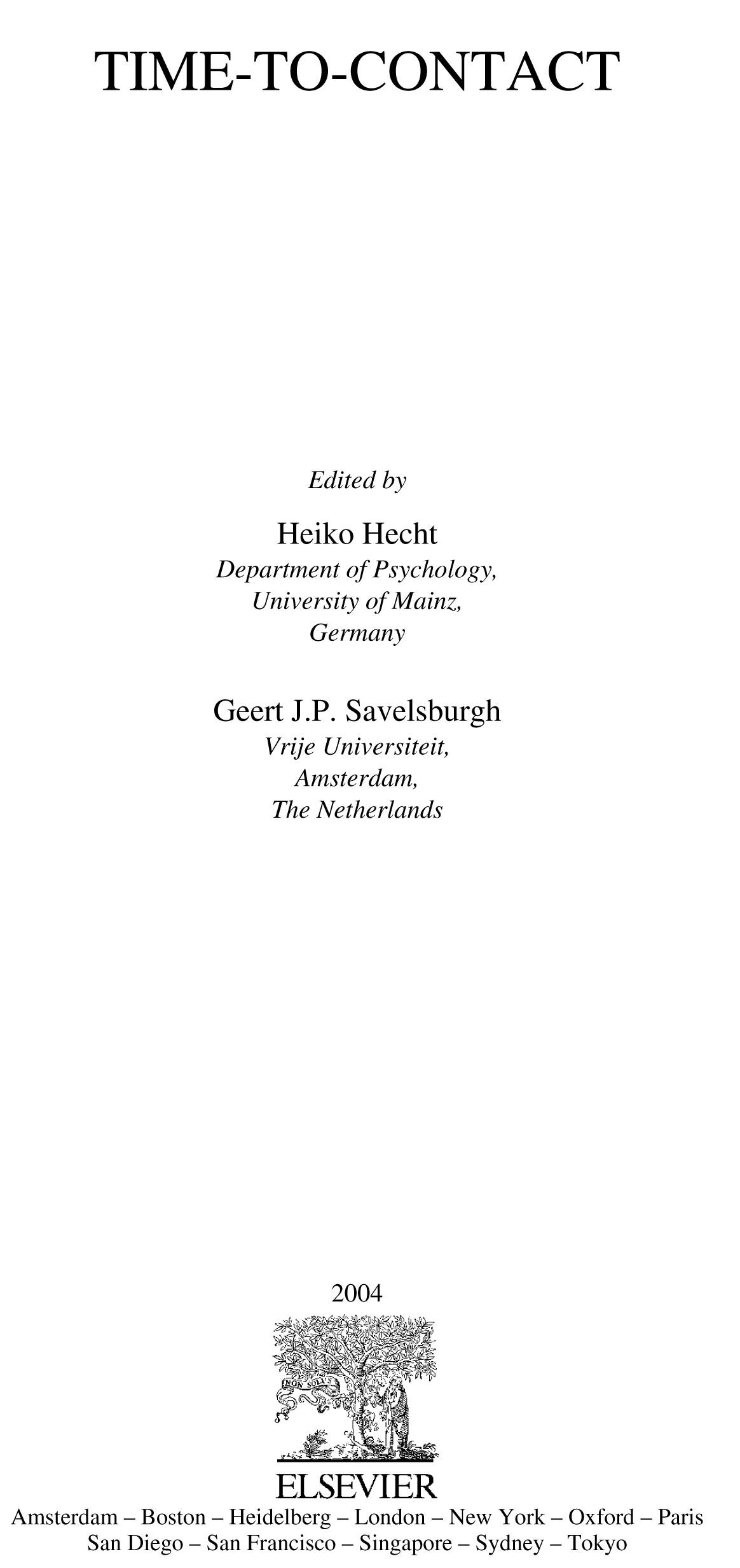 Time-to-Contact By: Hecht, Heiko