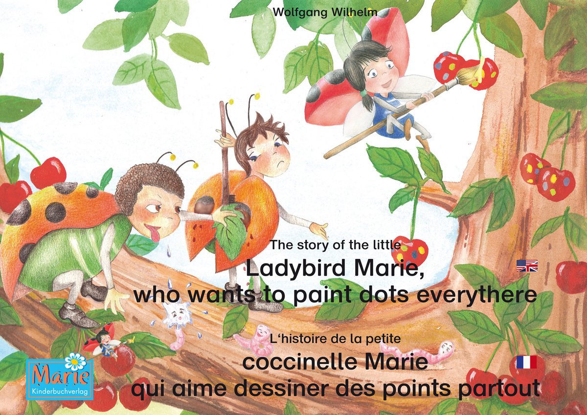 The story of the little Ladybird Marie, who wants to paint dots everythere. English-French.
