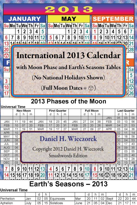 2013 International Calendar With Moon Phase Table