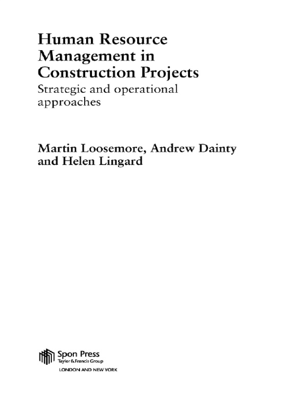 Human Resource Management in Construction Projects Strategic and Operational Approaches