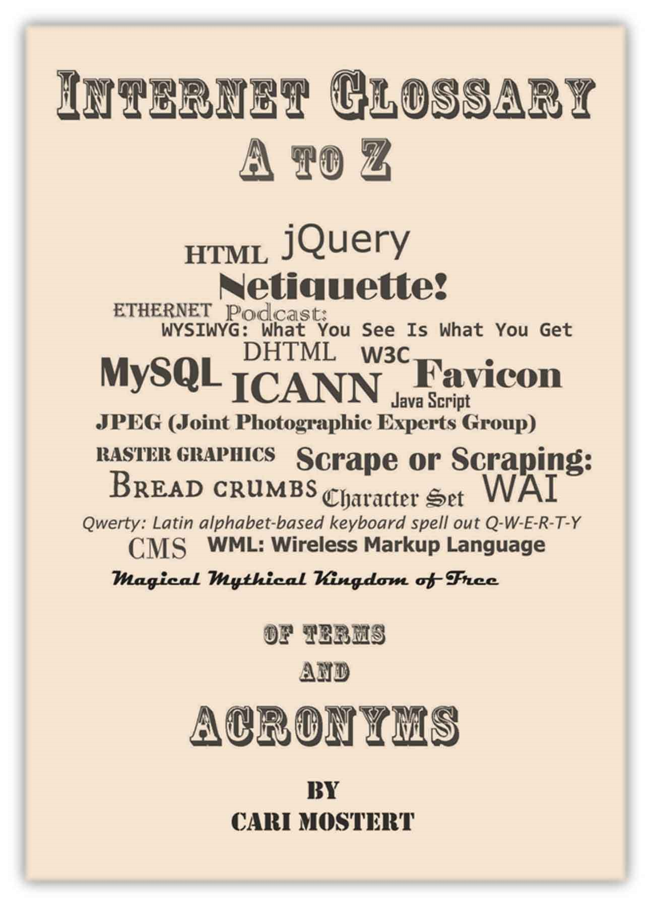Internet Glossary A to Z of Terms and Acronyms By: Cari Mostert