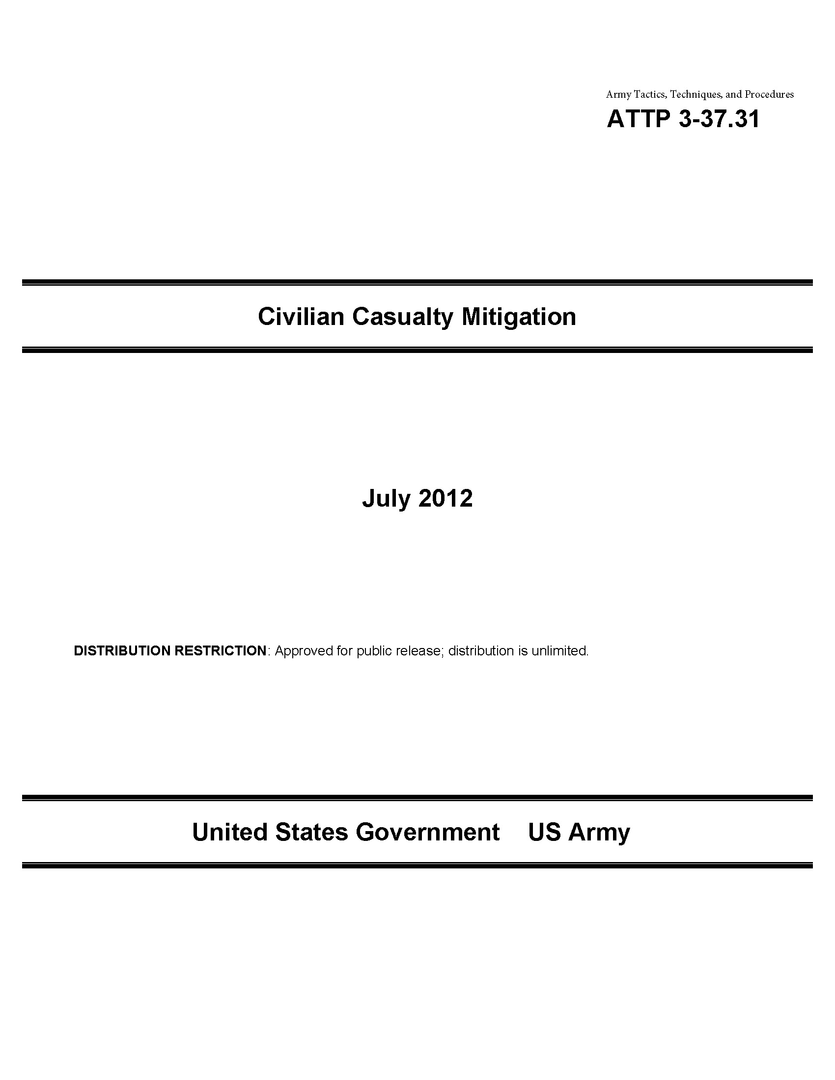 Army Tactics, Techniques, and Procedures ATTP 3-37.31 Civilian Casualty Mitigation July 2012