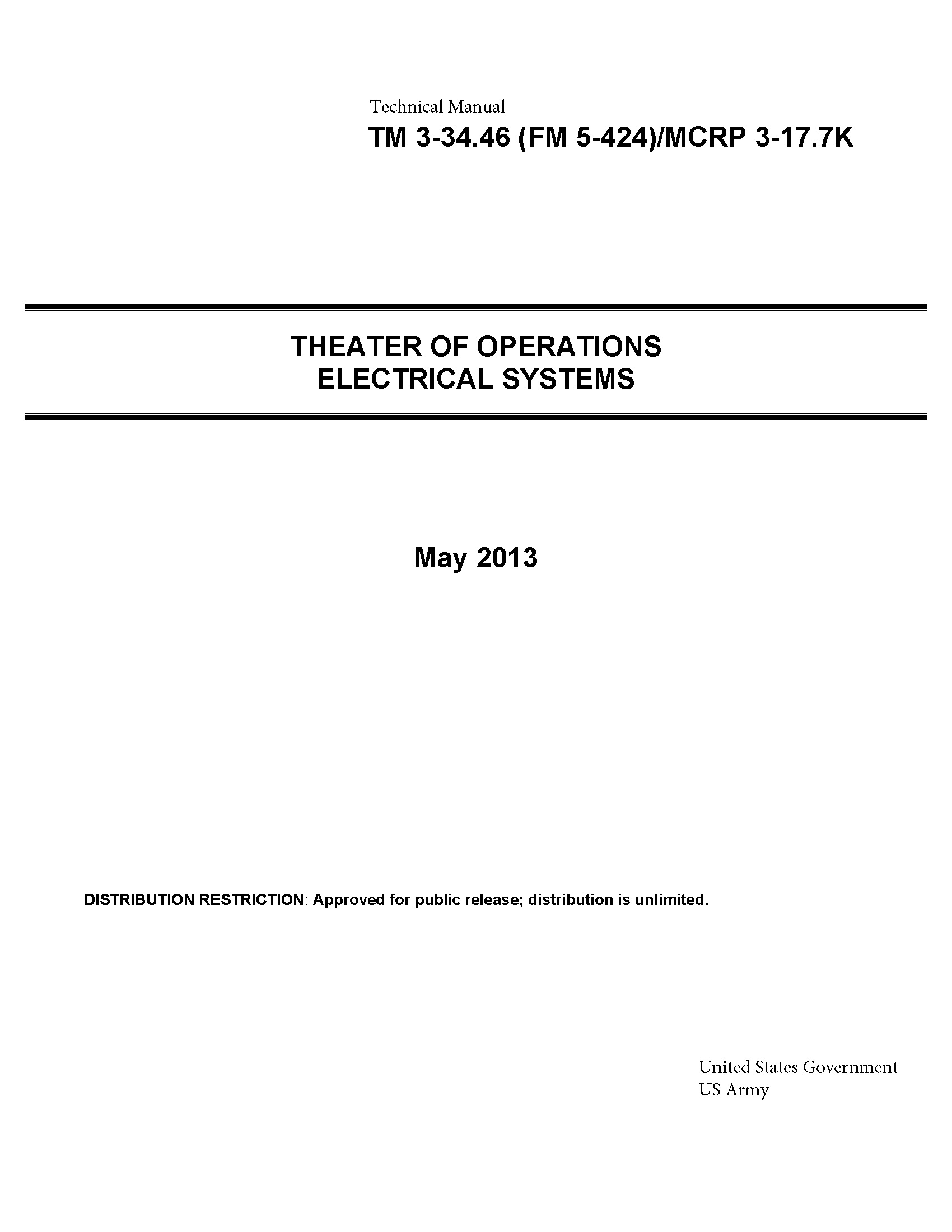 Technical Manual TM 3-34.46 (FM 5-424)/MCRP 3-17.7K Theater of Operations Electrical Systems May 2013