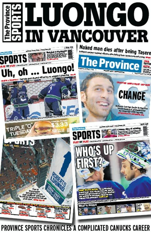 Luongo in Vancouver By: Province Sports