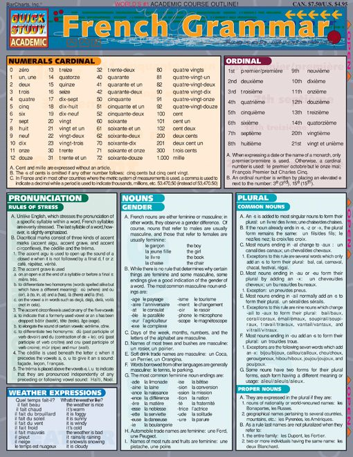French Grammar By: BarCharts,Inc