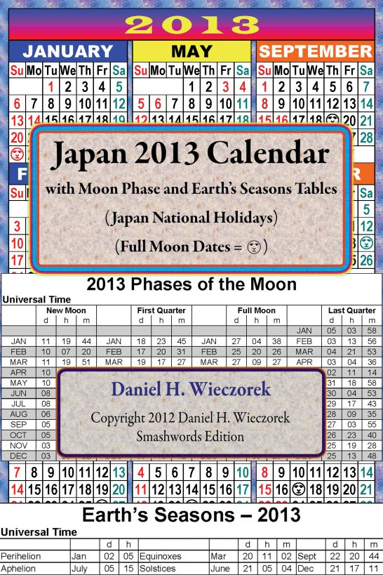 2013 Japan Calendar With Moon Phase Table