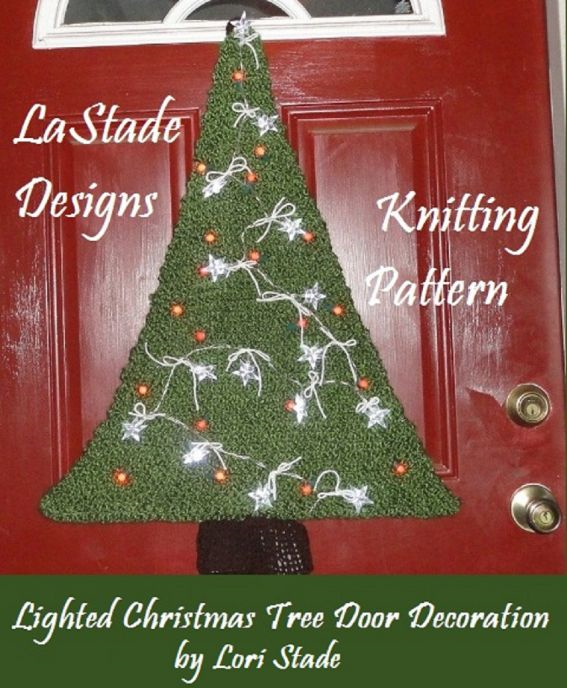 Lighted Christmas Tree Door Decoration Knitting Pattern
