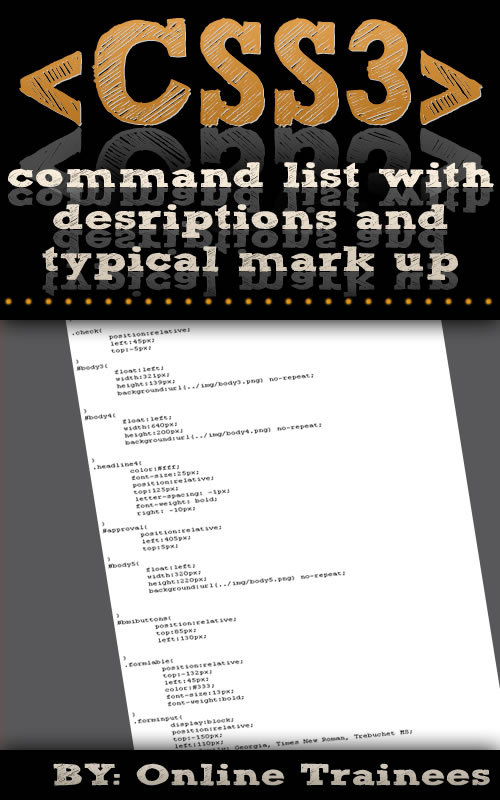 Comprehensive CSS3 Command List, With Descriptions And Typical Mark Up