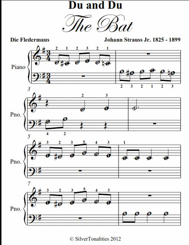 Du and Du die Fledermaus the Bat Beginner Piano Sheet Music