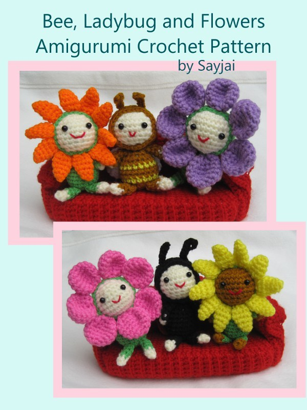 Bee, Ladybug and Flowers Amigurumi Crochet Pattern By: Sayjai