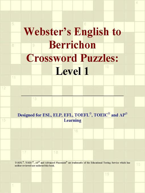 ICON Group International - Webster's English to Berrichon Crossword Puzzles: Level 1