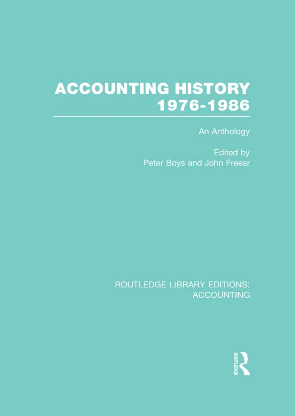Accounting history,  1976-1986 : an anthology An Anthology